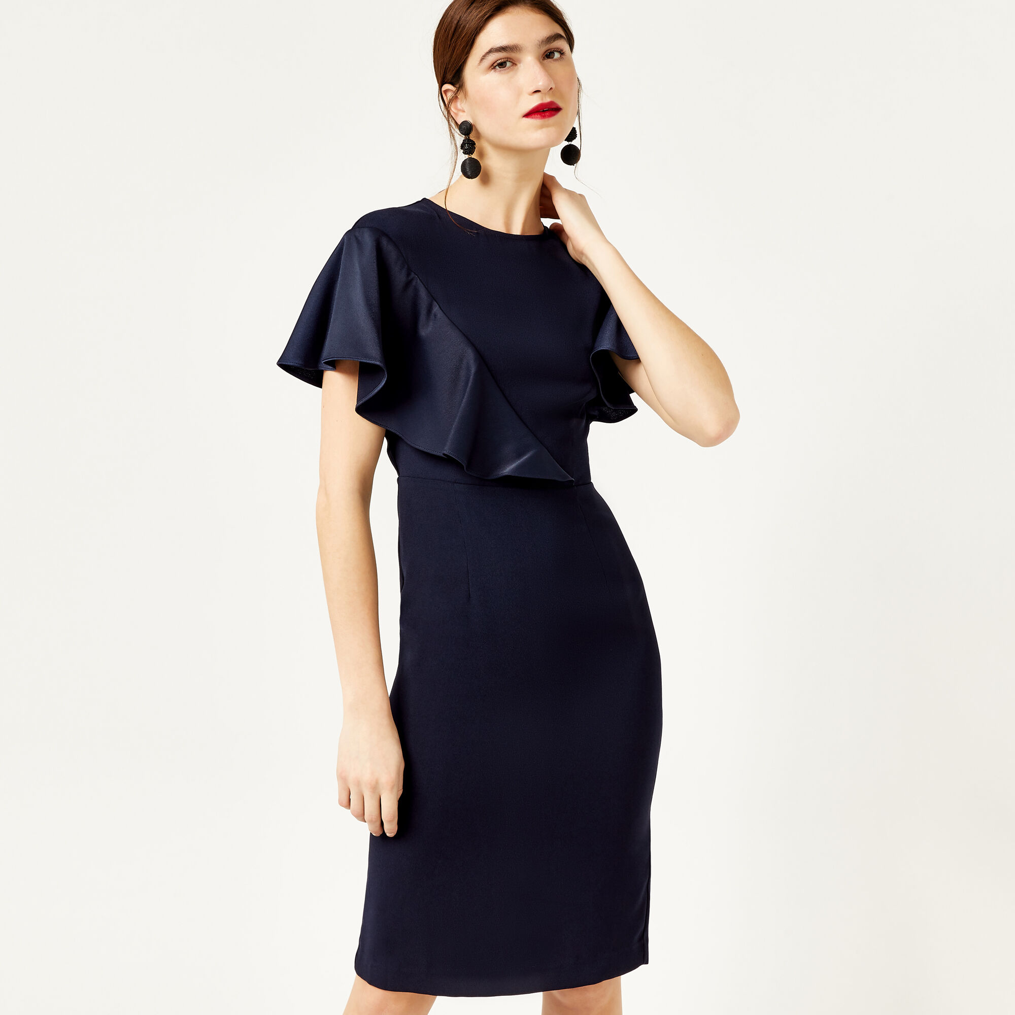 Warehouse, SATIN AND CREPE MIX DRESS Navy 1