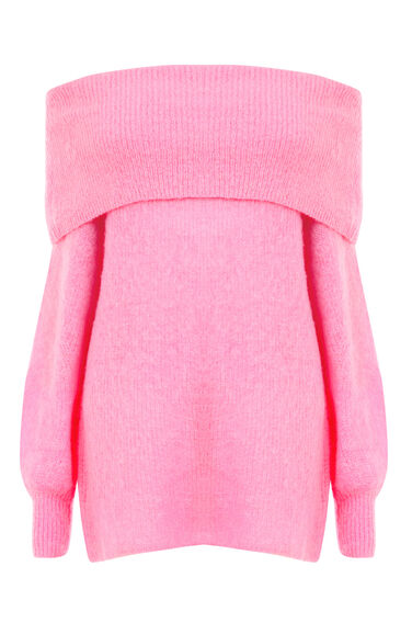 Warehouse, DEEP BARDOT MOHAIR JUMPER Bright Pink 0