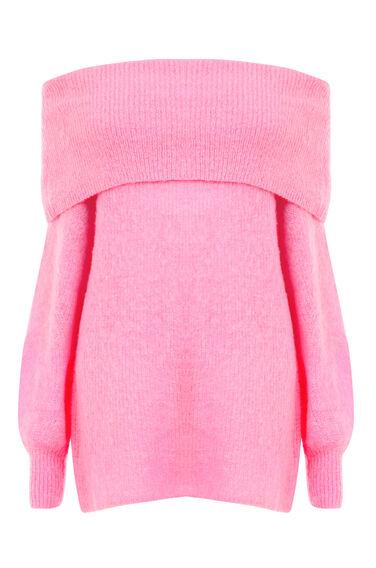 Warehouse, DEEP BARDOT MOHAIR JUMPER Bright Pink 0