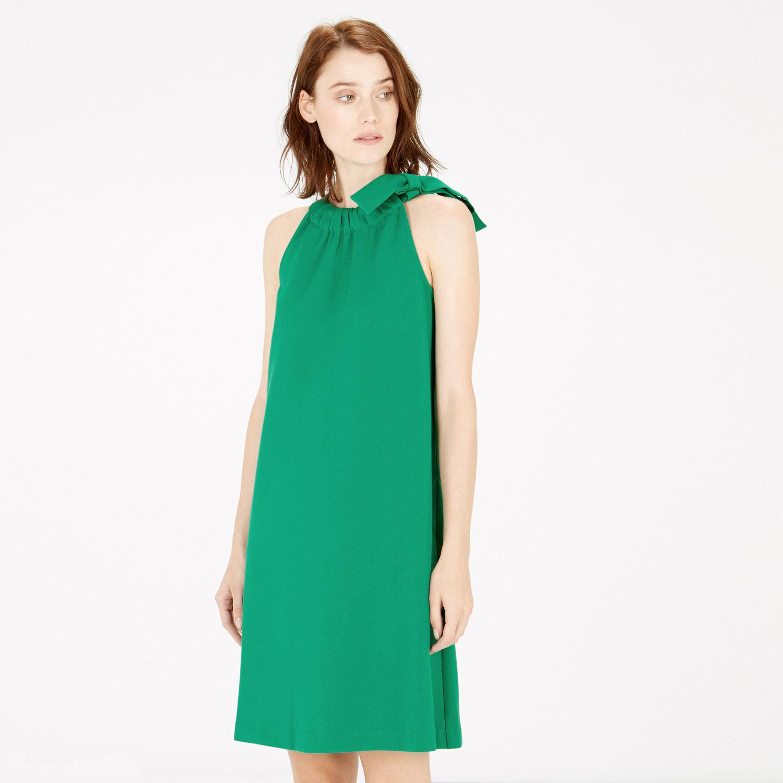 Warehouse, BOW DETAIL HALTERNECK DRESS Bright Green 1