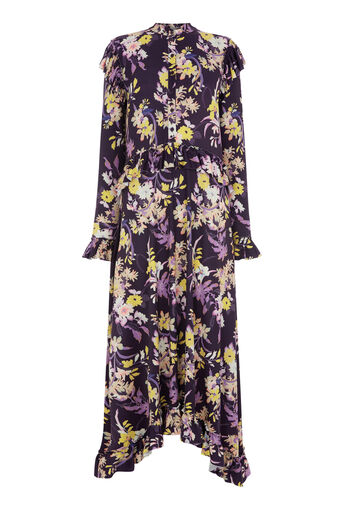 Warehouse, ORCHID PRINT FRILL MIDI DRESS Purple Pattern 0