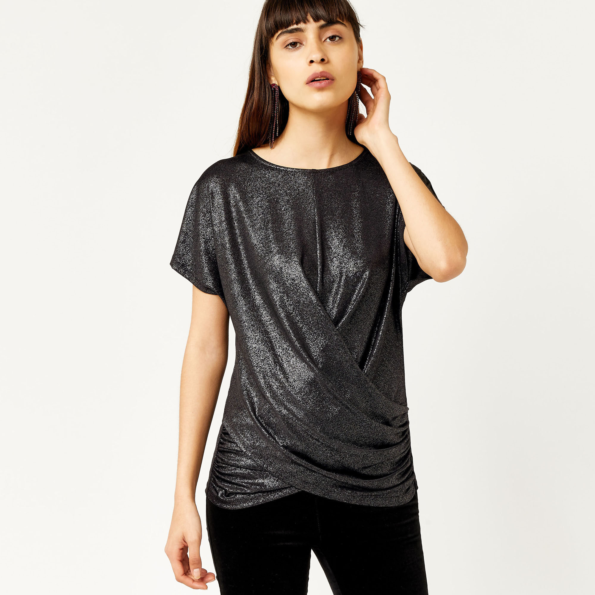 Warehouse, METALLIC KNOT FRONT TOP Silver Colour 1