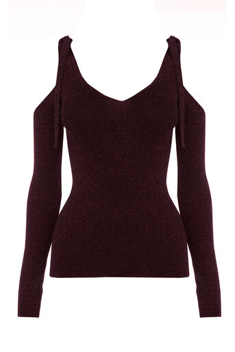 Warehouse, SPARKLE TIE SHOULDER TOP Dark Red 0