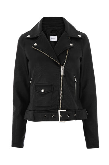 Warehouse, Faux Leather Crop Biker Jacket Black 0