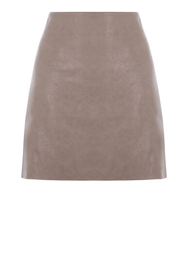 Warehouse, Faux Leather Mini Skirt Mink 0