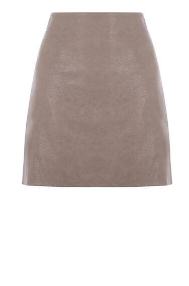 Warehouse, Faux Leather Mini Skirt Mink 0