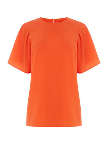 Warehouse, PLEATED SLEEVE TOP Orange 0