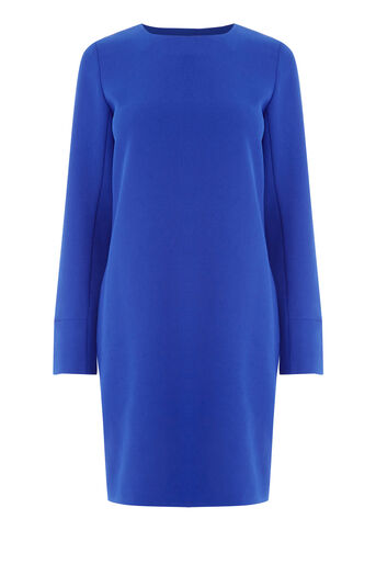 Warehouse, LONG SLEEVE SHIFT DRESS Bright Blue 0
