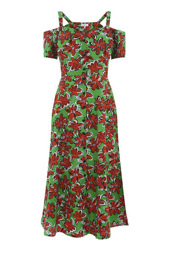Warehouse, WOODBLOCK DAISY SWING DRESS Green Print 0