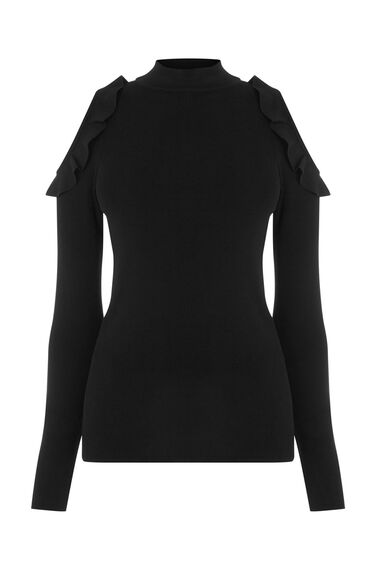 Warehouse, FRILL COLD SHOULDER JUMPER Black 0