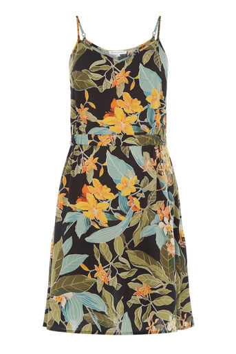 Warehouse, TROPICAL GARDEN CAMI DRESS Black Pattern 0