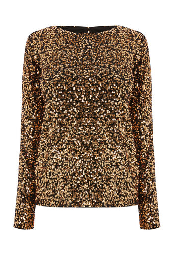 Warehouse, SEQUIN VELVET LONG SLEEVE TOP Gold Colour 0