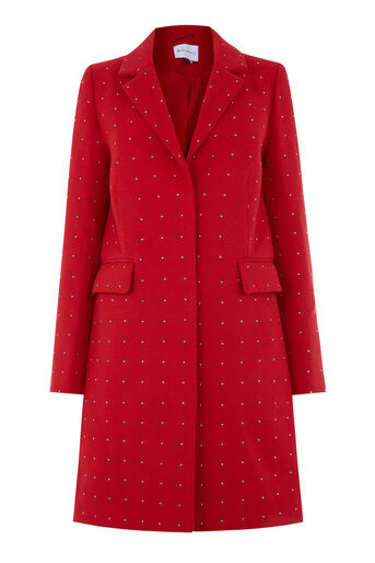 Warehouse, STUDDED CROMBIE Bright Red 0