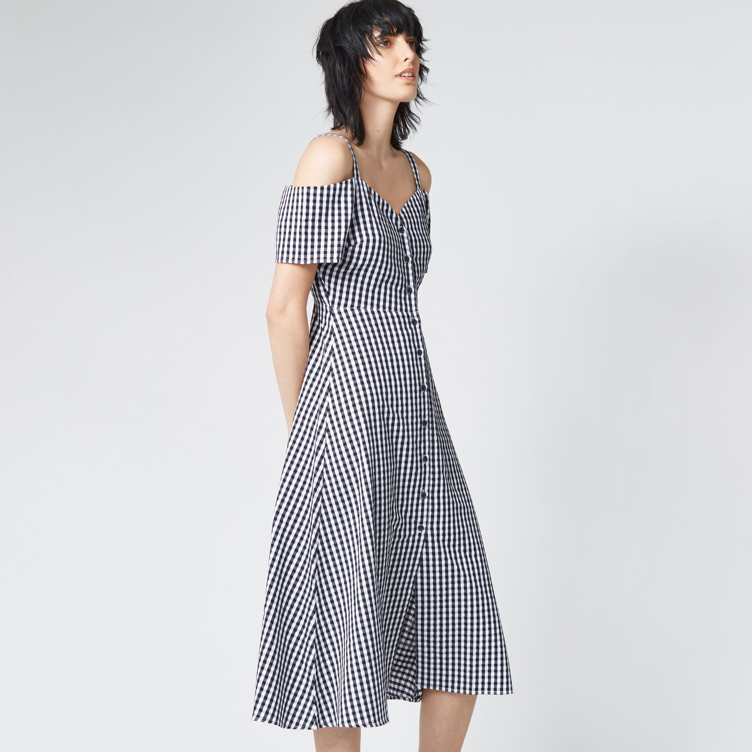 Warehouse, GINGHAM BUTTON FRONT DRESS Black Pattern 1