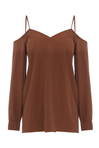 Warehouse, CAMI COLD SHOULDER TOP Brown 0