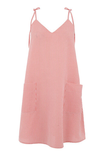 Warehouse, SEERSUCKER STRIPE CAMI DRESS Red Stripe 0