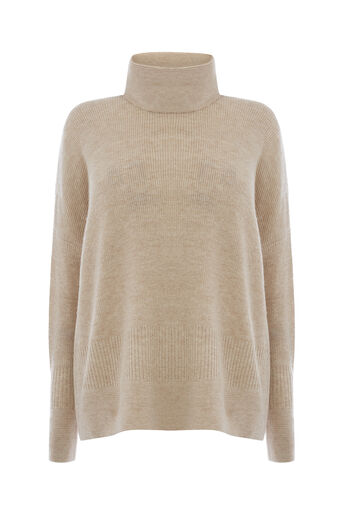 Warehouse, RIBBED BOXY COWL NECK JUMPER Beige 0