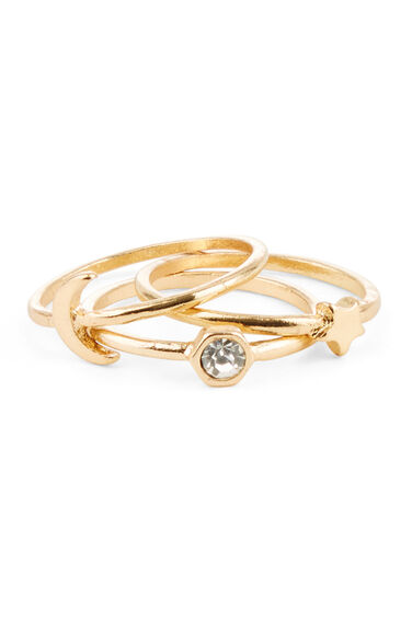 Warehouse, MOON STAR TRIPLE RING SET Gold Colour 0