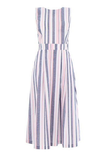 Warehouse, STRIPE TIE BACK DRESS Pink Stripe 0