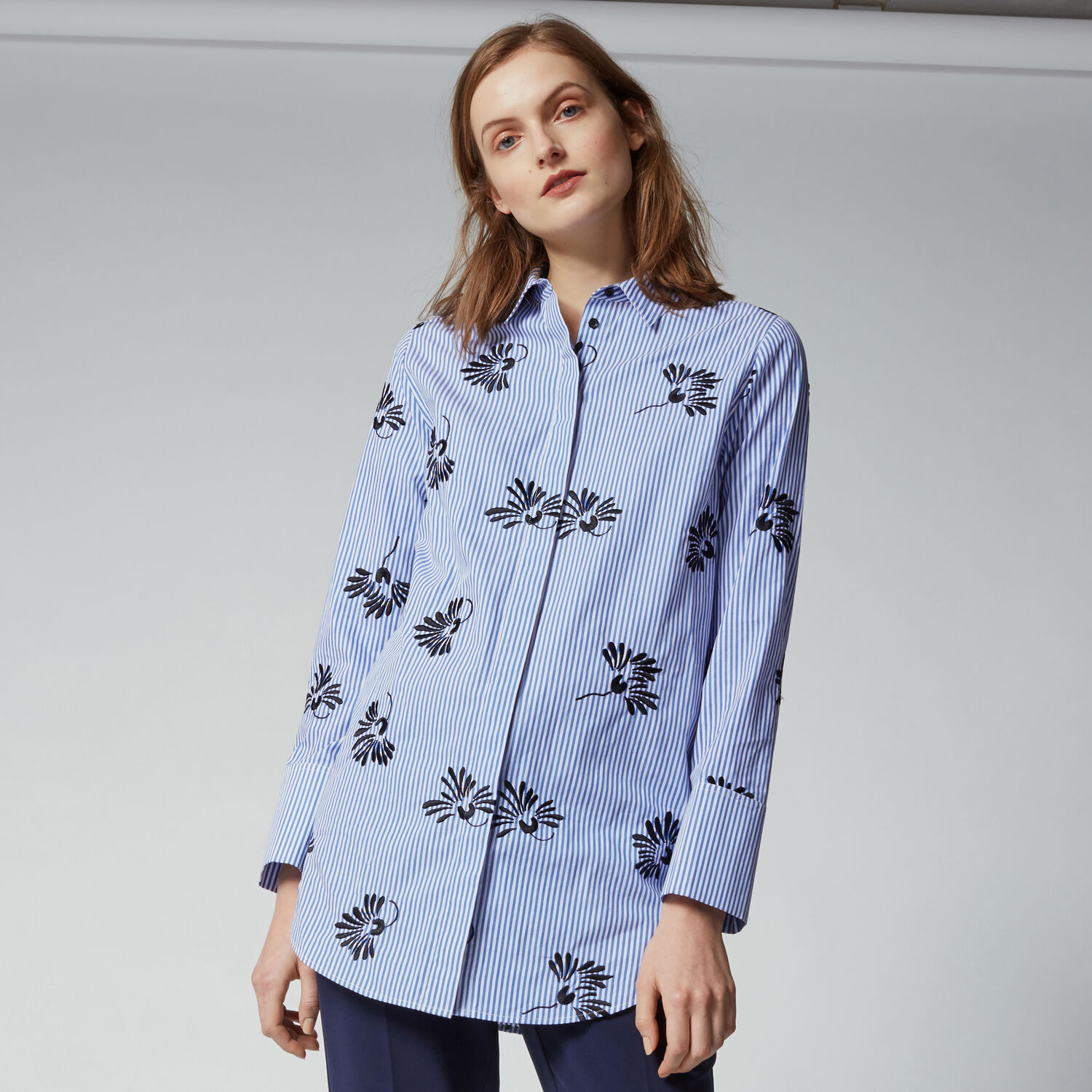 Warehouse, EMBROIDERED STRIPE SHIRT. Blue Stripe 1