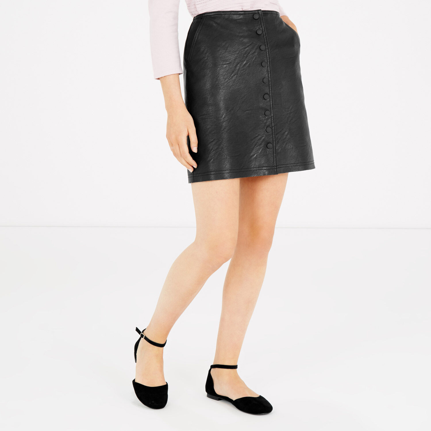 Warehouse, Popper Up Faux Leather Skirt Black 1