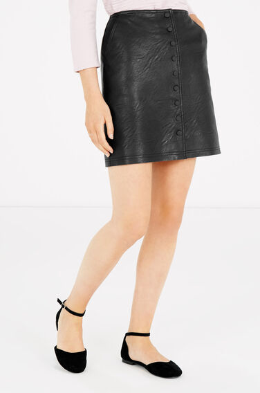 Warehouse, Popper Up Faux Leather Skirt Black 0