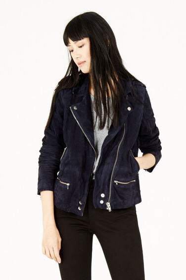 Warehouse, Suede Biker Jacket Navy 1