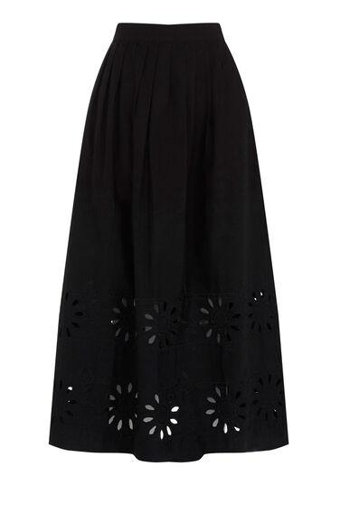 Warehouse, Embroidered Midi Skirt Black 0