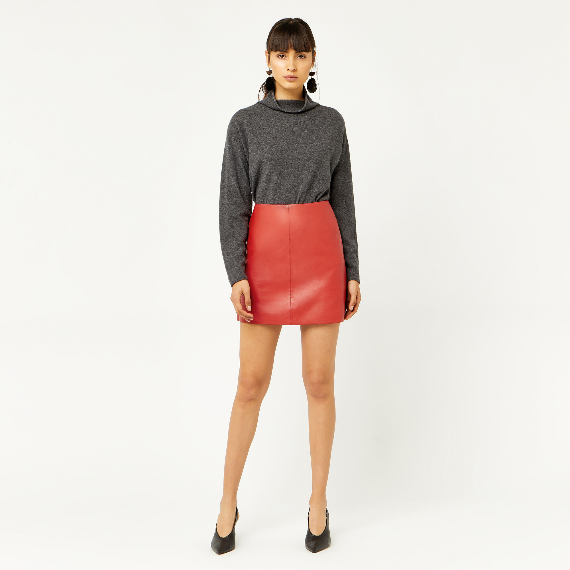Warehouse, LEATHER SKIRT Bright Red 1
