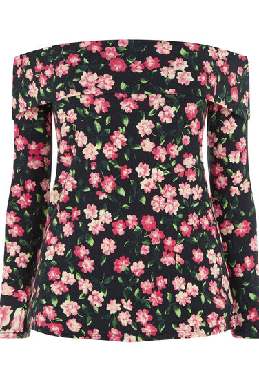 Warehouse, CHERRY BLOSSOM BARDOT TOP Multi 0