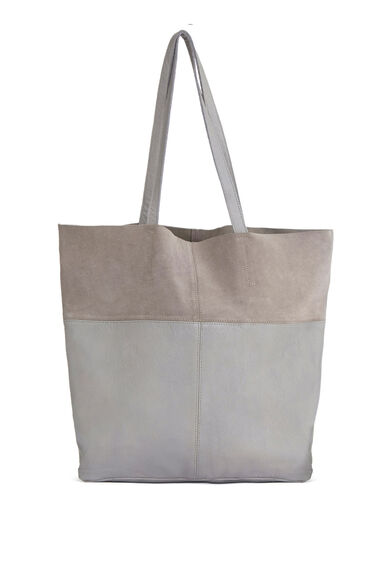 Warehouse, Leather Panelled Shopper Bag Light Grey 0
