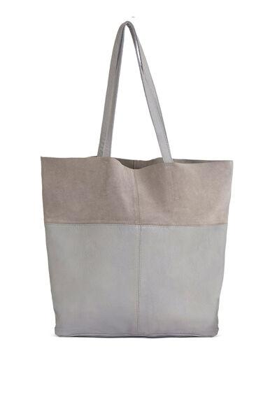 Warehouse, Leather Panelled Shopper Bag Light Grey 0
