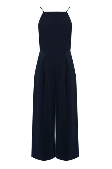 Warehouse, STRAPPY CROPPED JUMPSUIT Navy 0