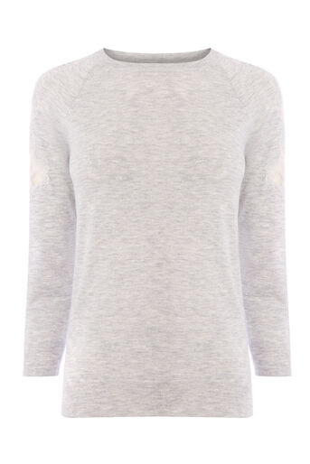 Warehouse, LACE INSERT JUMPER Light Grey 0