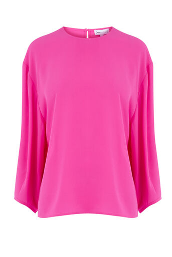 Warehouse, BALLOON SLEEVE TOP Bright Pink 0