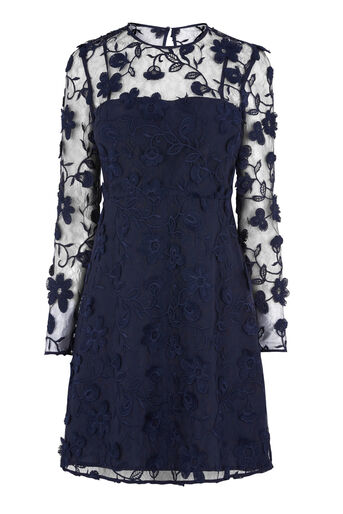 Warehouse, FLORAL EMBROIDERED DRESS Navy 0