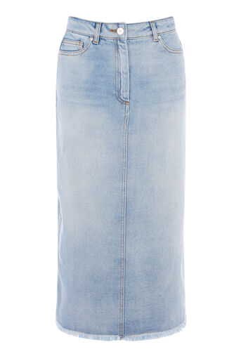 Warehouse, Bleached Maxi Skirt Bleach Denim 0