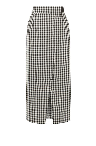 Warehouse, Gingham Wrap Skirt Black Pattern 0