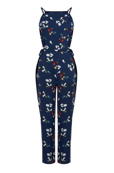 Warehouse, Spaced Floral Jumpsuit Blue Pattern 0