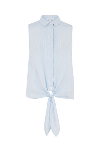 Warehouse, SEERSUCKER SLEEVELESS SHIRT Blue Stripe 0