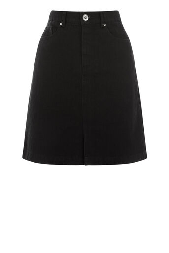 Warehouse, Split Front Denim Skirt Black 0