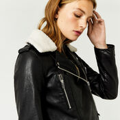 Warehouse, Borg Collar Faux Leather Biker Black 4