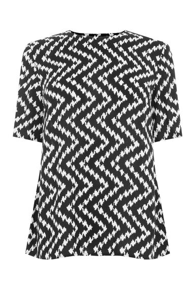 Warehouse, CHEVRON PRINT T-SHIRT Black 0