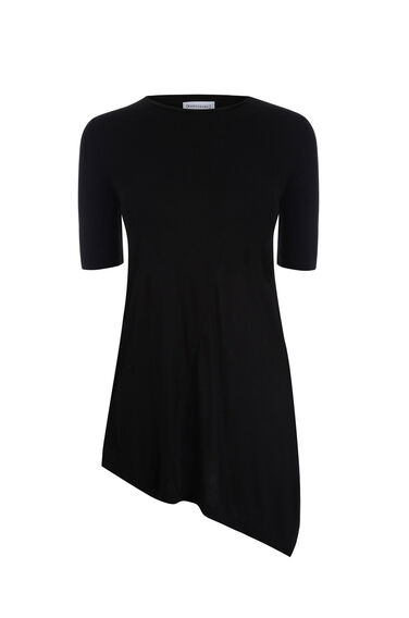 Warehouse, ASYMMETRIC HEM TEE Black 0
