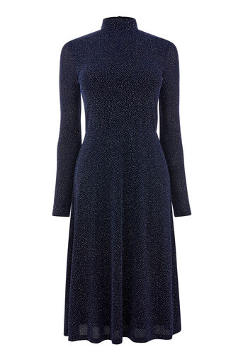 Warehouse, CRYSTAL GLITTER MIDI DRESS Navy 0