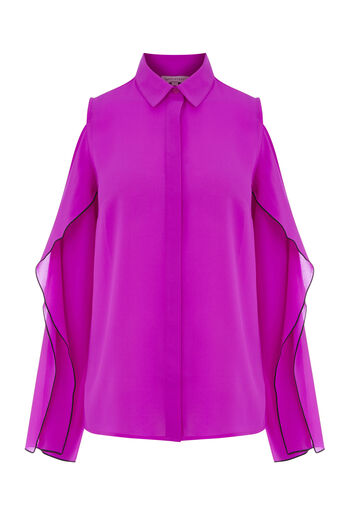 Warehouse, OPEN COLD SHOULDER SHIRT Bright Pink 0