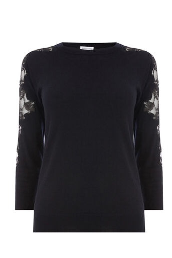 Warehouse, LACE INSERT JUMPER Navy 0