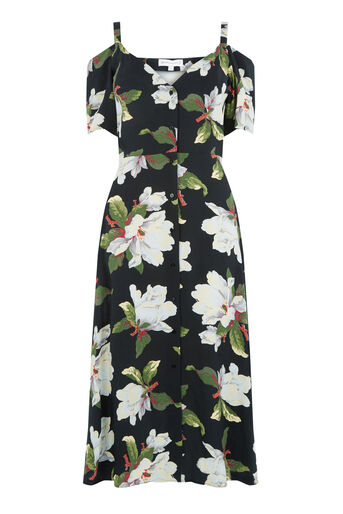 Warehouse, MAGNOLIA BUTTON THROUGH DRESS Black Pattern 0
