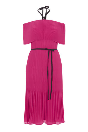 Warehouse, OFF SHOULDER TIE NECK DRESS Bright Pink 0