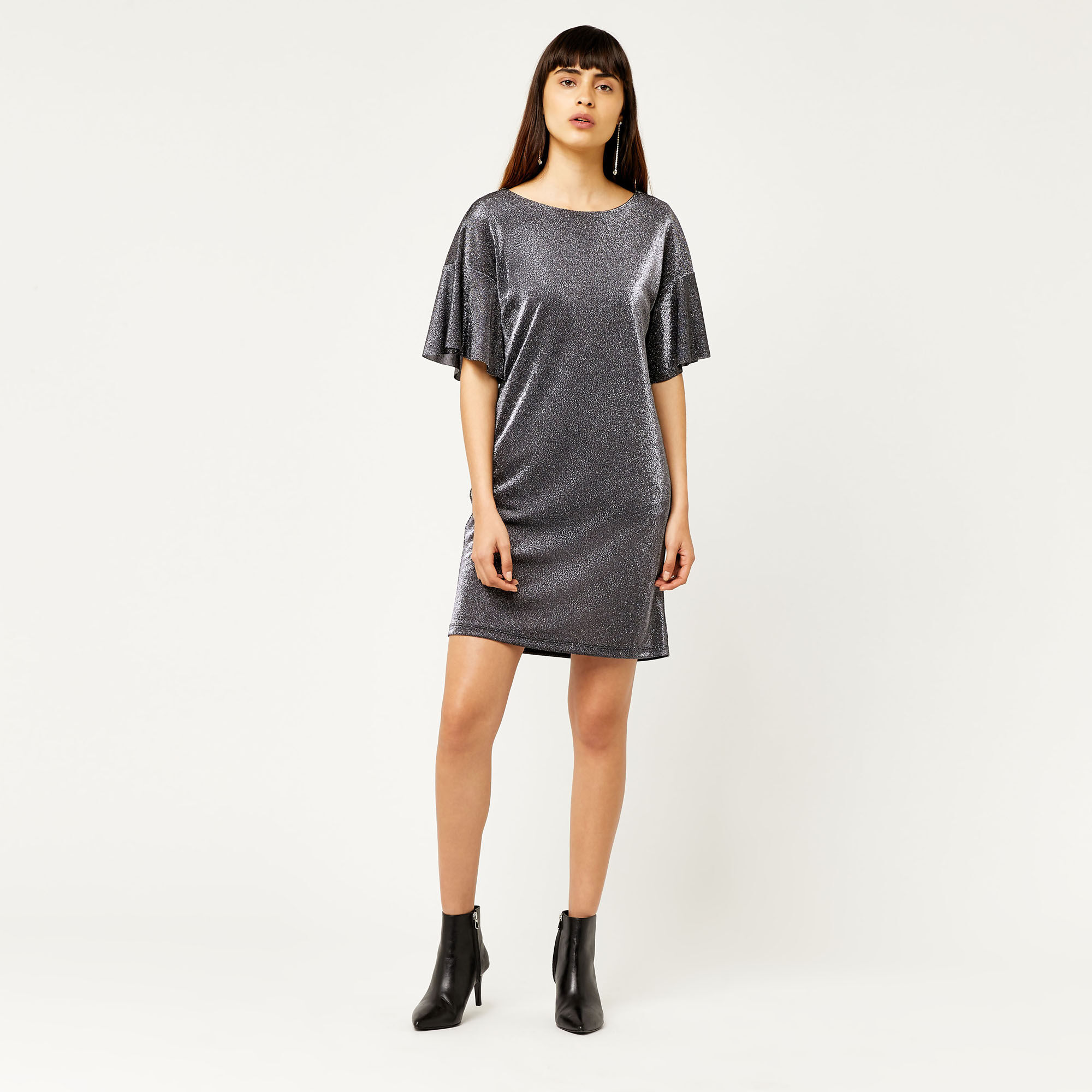 Warehouse, METALLIC TUNIC DRESS Silver Colour 1